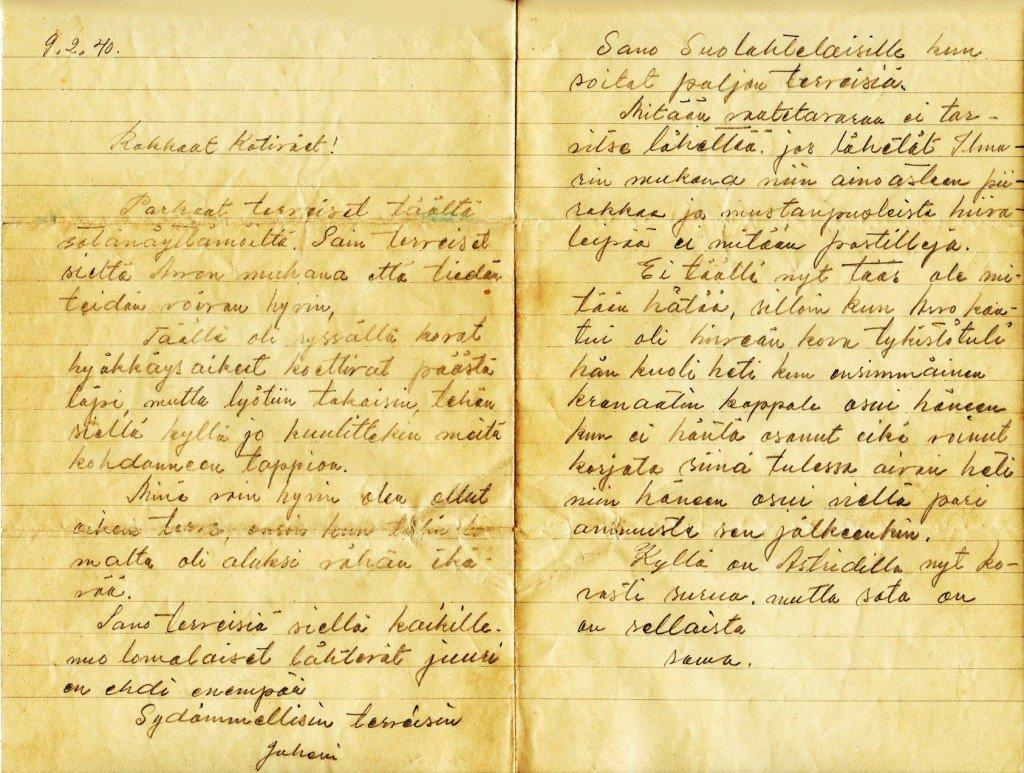 Juho Cederin kirje kotiväelle sieltä jostakin 9.2.1940