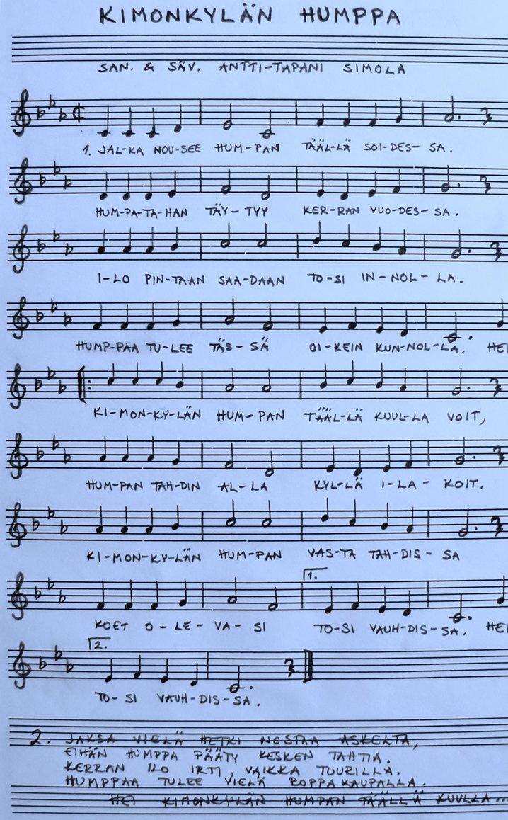 Valolassa on kuultu usein myös Tapani Simolan säveltämä ja sanoittama Kimonkylän humppa.