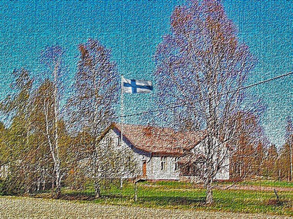 """Kimonkylän Ns:n 100 vuotias talo """"Valola"""", sijaitsee kylän keskellä osoitteessa Tuulennousu 6"""